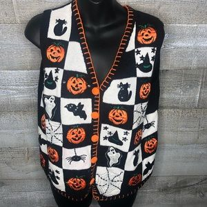 Basic Editions Halloween fall pumpkin printed vest